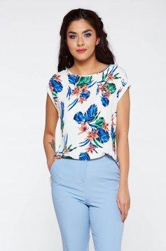 Bluza dama alba casual cu maneca scurta cu croi larg din material vaporos cu imprimeu floral
