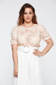 Bluza dama piersica eleganta cu croi larg din dantela cu maneca scurta
