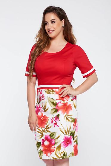 Rochie rosie eleganta tip creion din material usor elastic cu imprimeuri florale