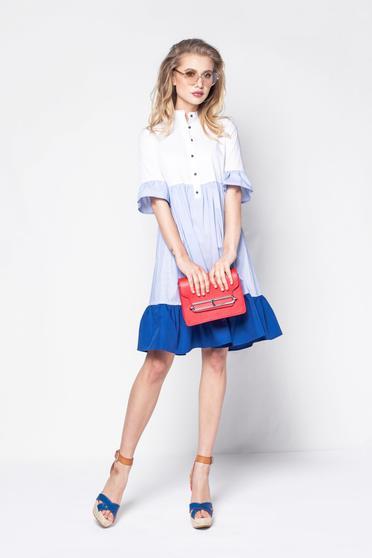 Rochie PrettyGirl albastra casual cu croi larg din bumbac usor elastic cu maneci scurte
