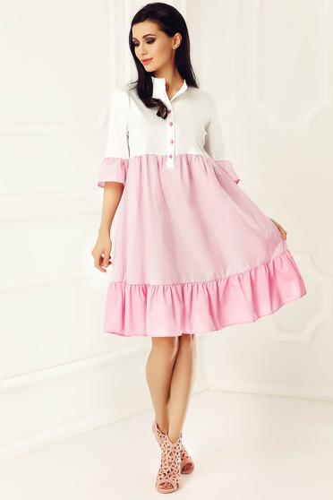 Rochie PrettyGirl roz deschis casual cu croi larg din bumbac usor elastic cu maneci scurte