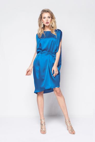 Rochie PrettyGirl albastra de party cu croi larg din material satinat accesorizata cu cordon