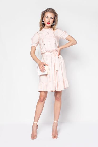 Rochie PrettyGirl rosa de zi in clos din material moale cu elastic in talie accesorizata cu cordon