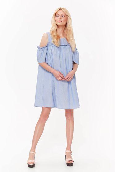 Rochie Top Secret albastra casual scurta cu croi larg cu umeri goi din bumbac