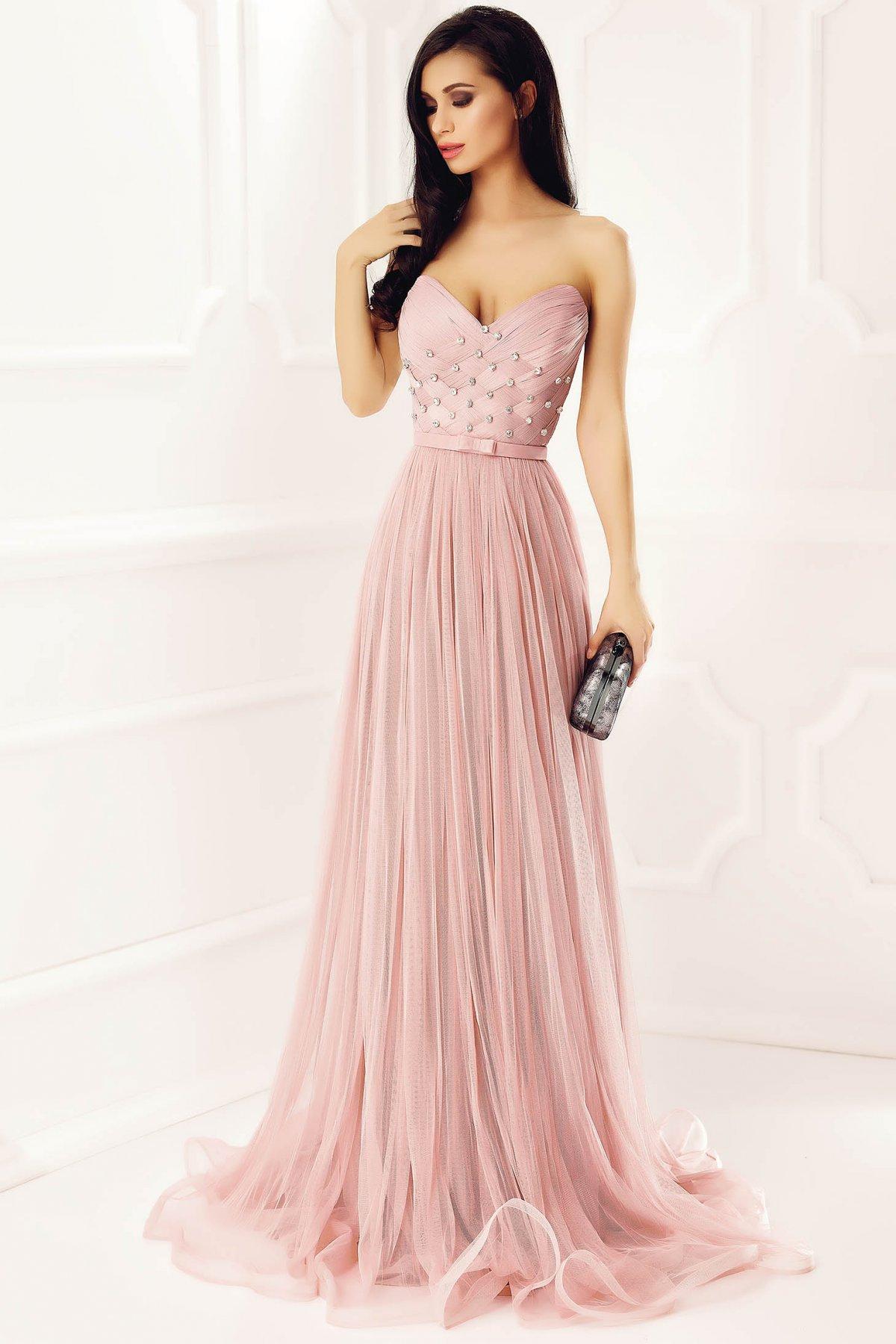 Rochie Ana Radu roz deschis de lux tip corset din tul captusita pe interior cu pietre strass de ocazie