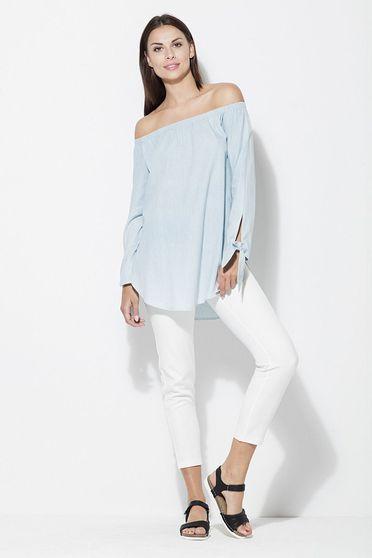 Bluza dama Katrus albastra-deschis casual cu croi larg cu umeri goi cu maneca lunga material subtire