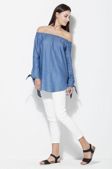Bluza dama Katrus albastra casual cu croi larg cu umeri goi cu maneca lunga material subtire