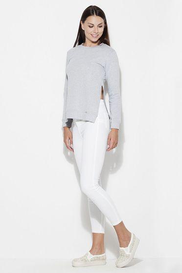 Bluza dama Katrus gri casual cu croi larg material subtire cu maneci lungi