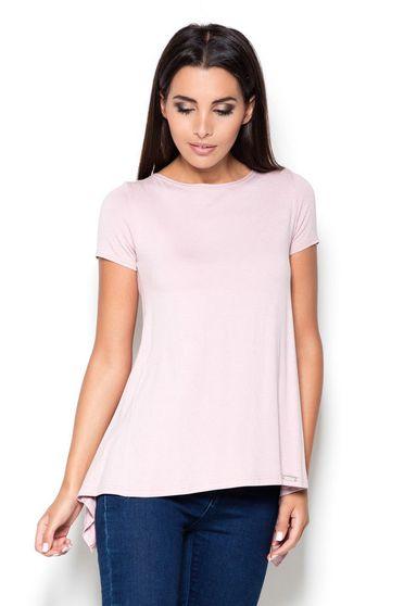 Bluza dama Katrus roz casual cu maneca scurta cu croi larg material subtire asimetrica