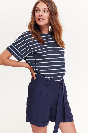 Bluza dama Top Secret albastra-inchis casual cu maneca scurta cu croi larg cu dungi material subtire