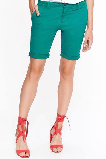 Pantalon scurt Top Secret verde casual cu talie medie din bumbac cu buzunare