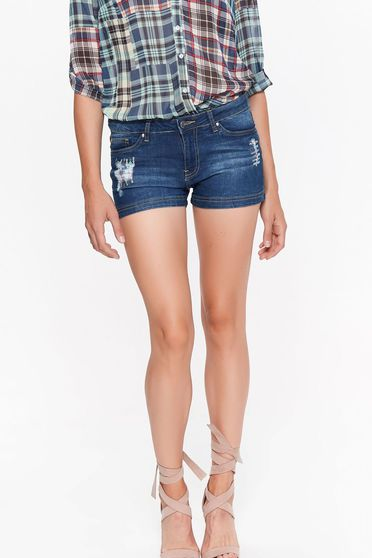 Pantalon scurt Top Secret albastru casual cu talie medie bumbac usor elastic cu buzunare