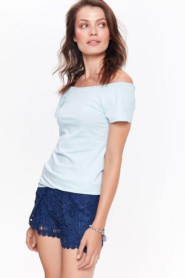 Bluza dama Top Secret albastra-deschis casual cu maneca scurta mulata bumbac usor elastic pe umeri