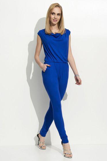 Salopeta Folly albastra casual fara maneci din material subtire cu elastic in talie