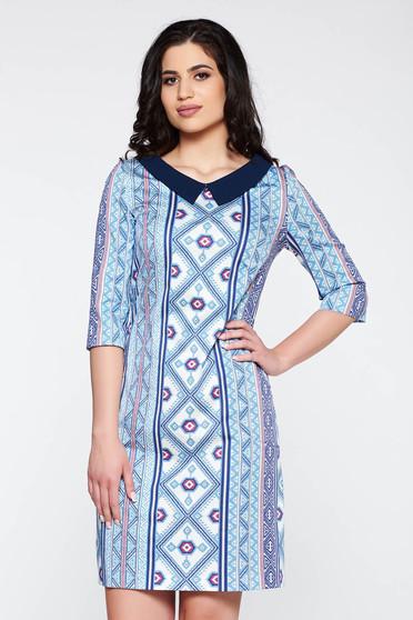 Rochie albastra eleganta cu guler cu maneca 3/4 cu croi larg din bumbac cu print captusita pe interior