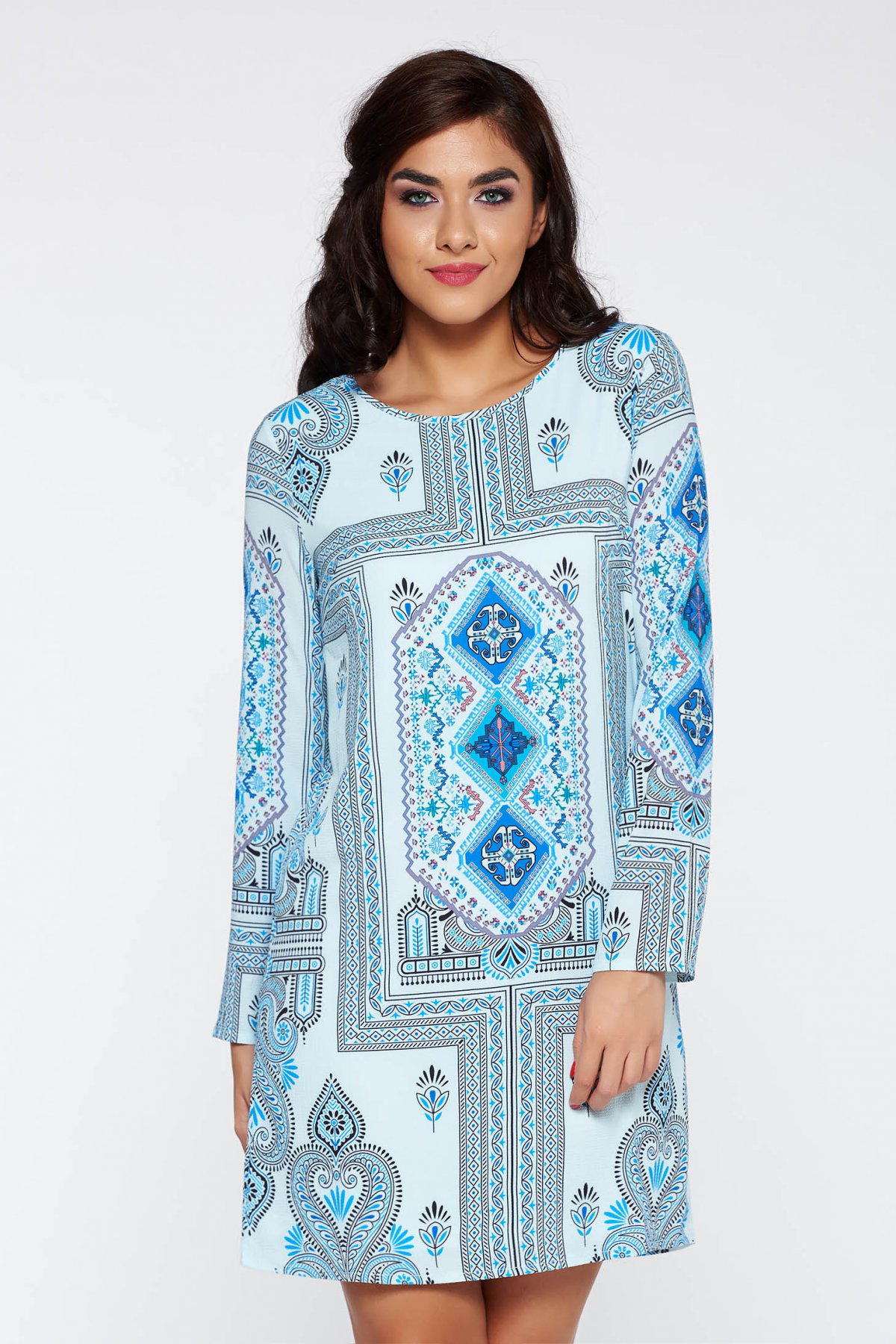 Rochie albastra casual cu maneca 3/4 cu croi larg captusita pe interior cu print