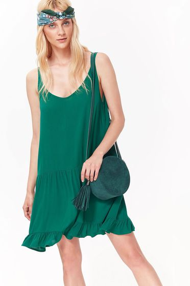 Rochie Top Secret verde casual cu decolteu fara maneci din material neelastic cu croi larg