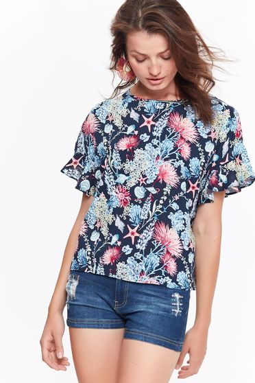 Top Secret bluza dama albastra casual cu maneca scurta cu imprimeu floral