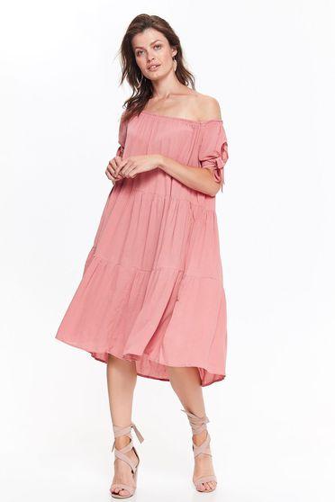 Rochie Top Secret rosa casual cu croi larg din material vaporos cu umeri goi