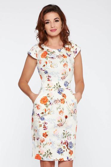 Rochie crem de zi tip creion bumbac usor elastic cu imprimeuri florale