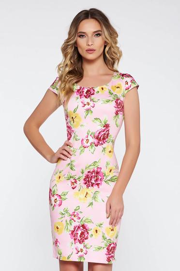 Rochie rosa de zi midi tip creion din bumbac elastic cu imprimeuri florale