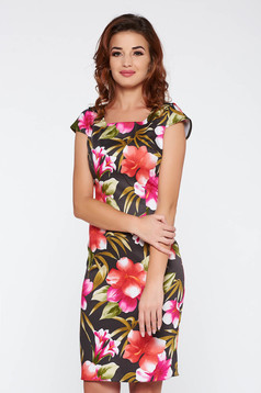 Rochie khaki de zi midi tip creion din bumbac elastic cu imprimeuri florale