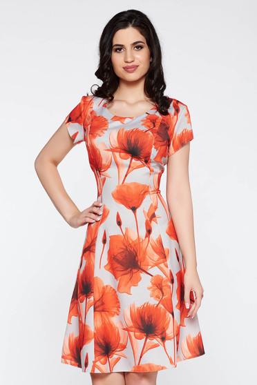Rochie portocalie de zi midi in clos din bumbac cu imprimeuri florale
