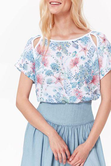 Bluza dama Top Secret alba casual cu croi larg din material usor elastic cu umeri decupati