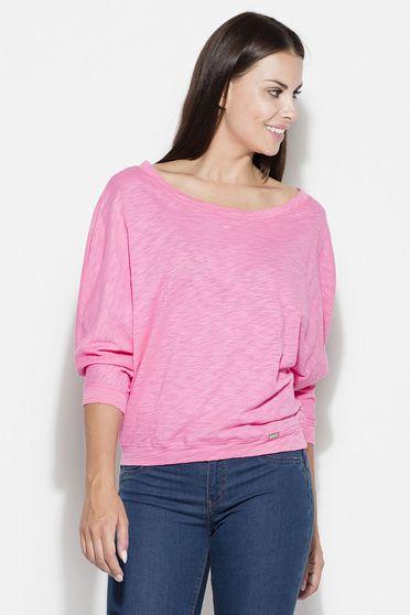 Bluza dama Katrus roz casual cu maneca 3/4 cu croi larg din bumbac