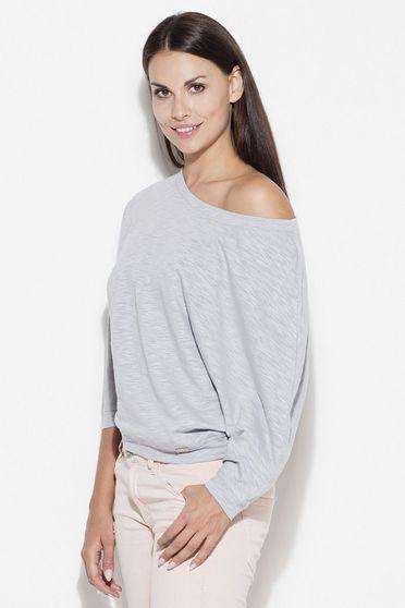 Bluza dama Katrus gri casual cu maneca 3/4 cu croi larg din bumbac