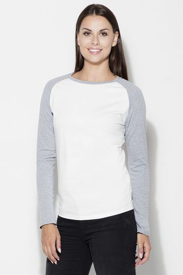 Bluza dama Katrus alb cu gri casual cu maneca lunga din bumbac