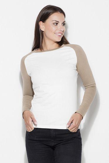 Bluza dama Katrus alb cu crem casual cu maneca lunga din bumbac