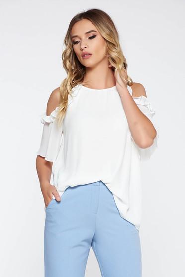Bluza dama alba eleganta cu croi larg din material vaporos si transparent captusita pe interior cu umeri goi
