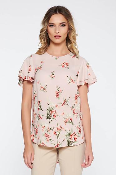 Bluza dama rosa eleganta cu croi larg din material vaporos cu imprimeuri florale
