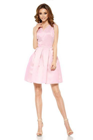 Rochie Lemoniade rosa de ocazie fara maneci scurta din material satinat