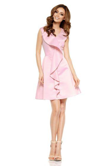 Rochie Lemoniade rosa de ocazie fara maneci in clos fara maneci din satin