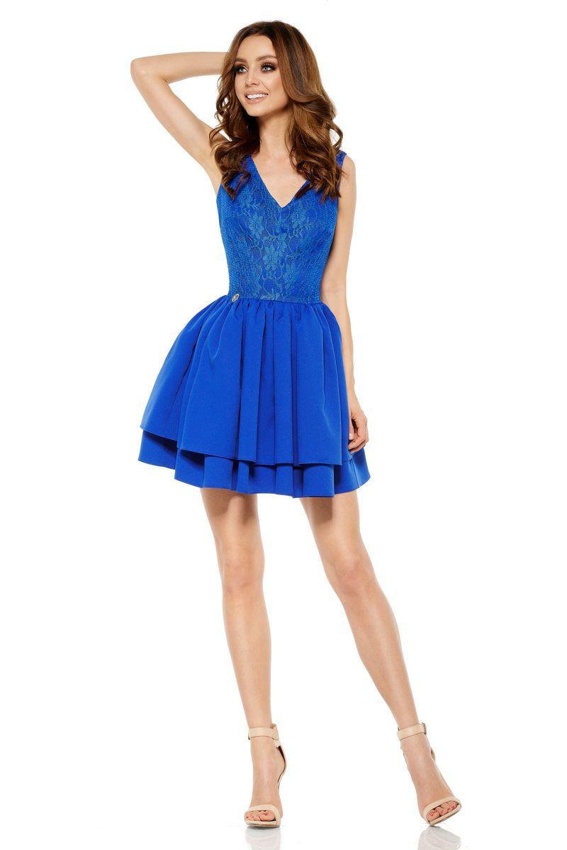 Rochie Lemoniade albastra eleganta fara maneci scurta in clos