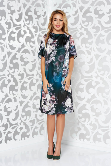 Rochie verde-inchis eleganta cu maneca scurta cu croi larg din material satinat cu imprimeu floral