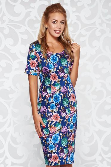 Rochie albastra-inchis casual cu un croi mulat din bumbac usor elastic cu imprimeuri florale