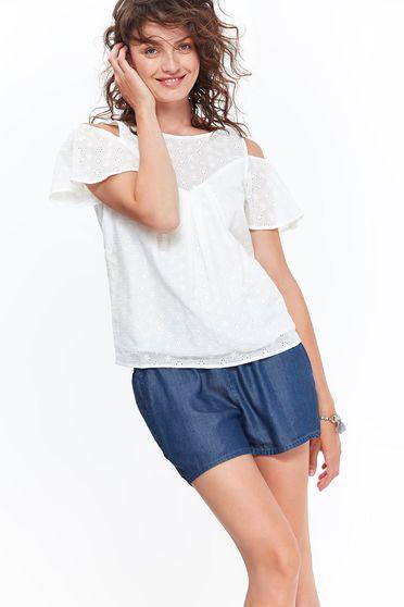 Bluza dama Top Secret alba casual cu croi larg din bumbac cu umeri decupati