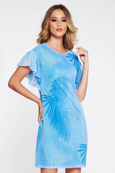 Rochie StarShinerS albastra de zi cu croi larg din material transparent captusita pe interior cu volanase la maneca