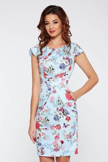 Rochie albastra-deschis de zi tip creion bumbac usor elastic cu imprimeuri florale