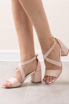 Sandale crem elegante din piele naturala cu toc gros si barete subtiri