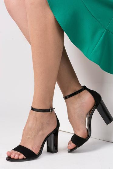 Sandale negre elegante din piele naturala cu toc inalt si barete subtiri