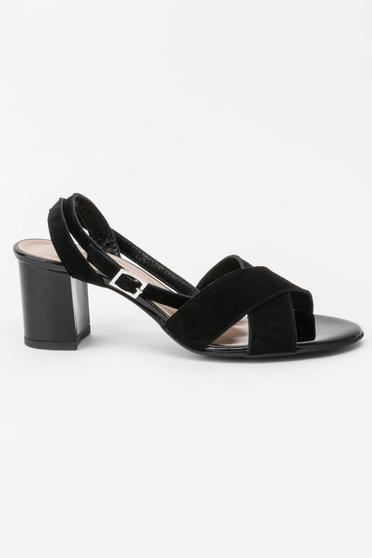 Sandale negre elegante din piele naturala cu toc gros si barete subtiri