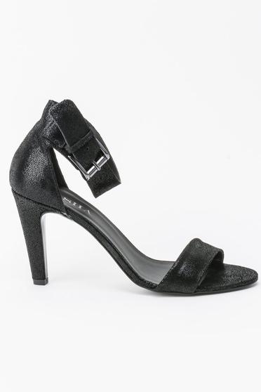 Sandale negre elegante din piele naturala cu toc inalt si cu barete subtiri