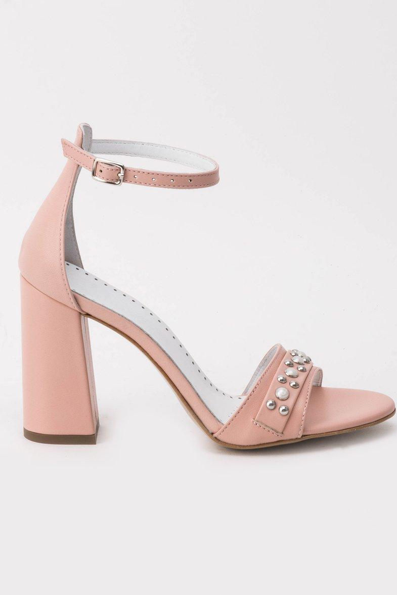 Sandale rosa elegante din piele naturala cu toc gros cu aplicatii cu perle