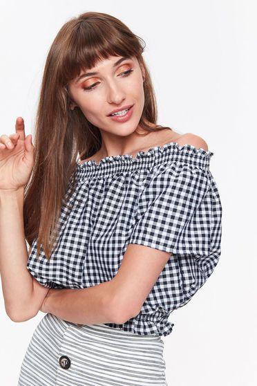 Bluza dama Top Secret neagra casual scurta cu croi larg din bumbac cu elastic in talie
