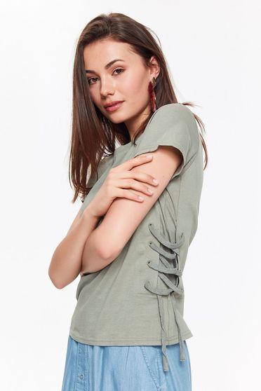 Bluza dama verde Top Secret casual cu croi larg din bumbac neelastic