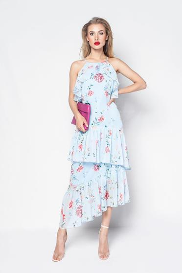 Rochie PrettyGirl albastra-deschis eleganta din material vaporos si transparent captusita pe interior cu volanase